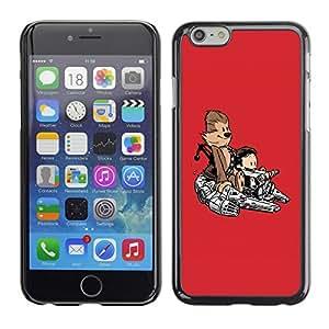 Cubierta de la caja de protección la piel dura para el Apple iPhone 6 (4.7) - Cool Funny Cute Monkey Space Ship