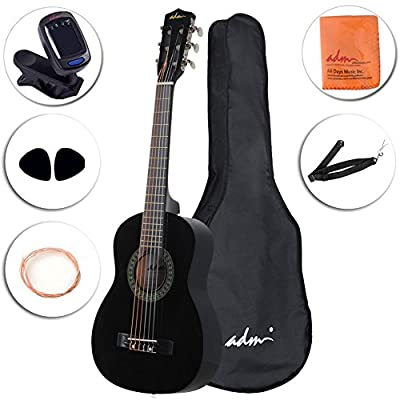 ADM Beginner Classical Guitar 30 Inch Nylon Strings Bundle with Carrying Bag & Accessories