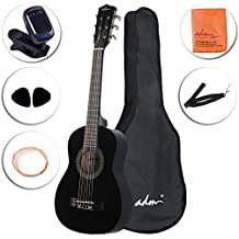 ADM Beginner Classical Guitar 30 Inch Nylon Strings Bundle with Carrying Bag & Accessories, Black
