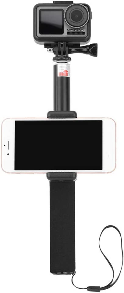 Black AMOUSTORE 2 in 1Extension Selfie Stick for Most Mobile Phones for DJI OSMO Action,Non-Slip Extendable Phone Holder Gimbal Compatible with Removable Phone Clip