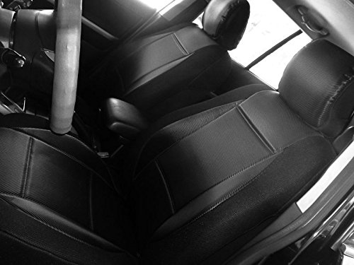 Select Pickup Truck model, Mix Like Carbon Fiber (Middle) & Synthetic (Sides) Two Front Car Seat Covers (Nissan Frontier & Navara D40 (2004-2014), black / black sides)