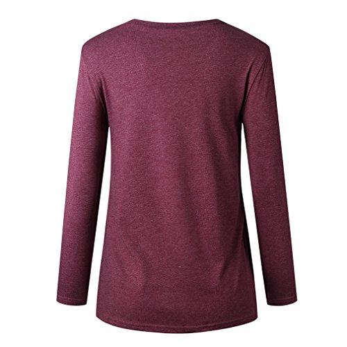 O Stampa Camicette Causali A Alto Rosso Vino S Collo Arcobaleno Yying Shirt Donna A con T Lunghe Maniche XL xqvz0Rw