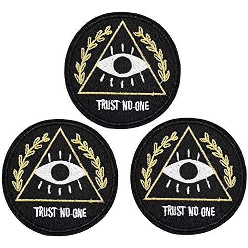 U-Sky Sew or Iron on Patches - Trust No One Patch for Jeans, Biker Jackets, Backpacks, Caps, Clothing - Pack of 3pcs - Size: 2.9x2.9inch