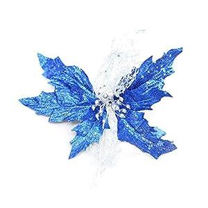 "EBHRDFFA 8"" Christmas Party Poinsettia Glitter Flower Gold Bow Clip On Decor Xmas Tree 49"