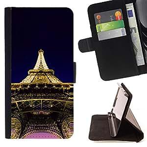 BullDog Case - FOR/Apple Iphone 5C / - / Architecture Eiffel Tower Paris /- Monedero de cuero de la PU Llevar cubierta de la caja con el ID Credit Card Slots Flip funda de cuer