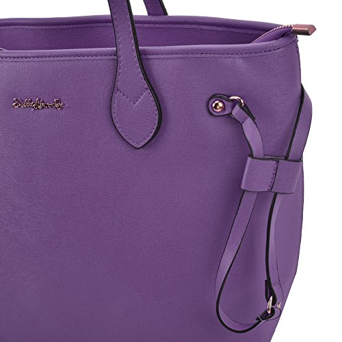 Tote Purple With Bag Women High Fashion SALLY PU Quality YOUNG Detail Metal Leather OwpWq0TS
