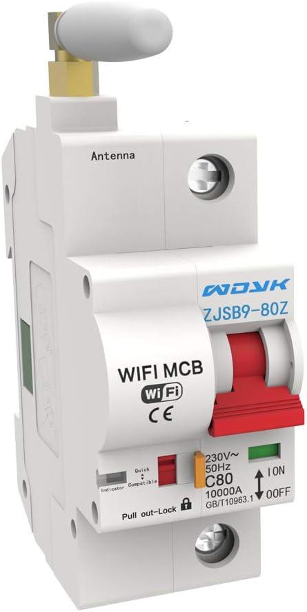 Interruptor Autom/ático WiFi Disyuntor Smart Disyuntor KKmoon Interruptor protector de circuito 1P 50A//2P 63-80A Interruptor de sincronizaci/ón control de voz del tel/éfono remoto del disyuntor