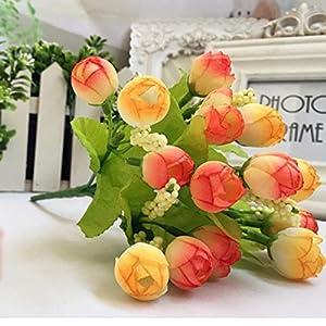 HAPIGOOD DIY 15 Heads Artificial Flower Fake Rose Silk Leaf Flowers Floral Garden Home Wedding Bridal Bouquet Party Decor Accessories (Orange) 26