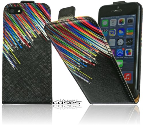 Design Flip Case Tasche mit Sternschnuppe Motiv für das Apple iPhone SE / 5 / 5S Cover Schutzhülle in schwarz mit Motiv Stars