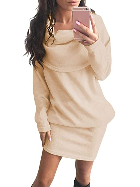 960ff6e89379 Minetom Abito Donna Inverno Maglia Autunno Vestiti Manica Lunga Maglioni  Jumper Collo Alto Maglione Eleganti Mini Dress Casual  Amazon.it   Abbigliamento