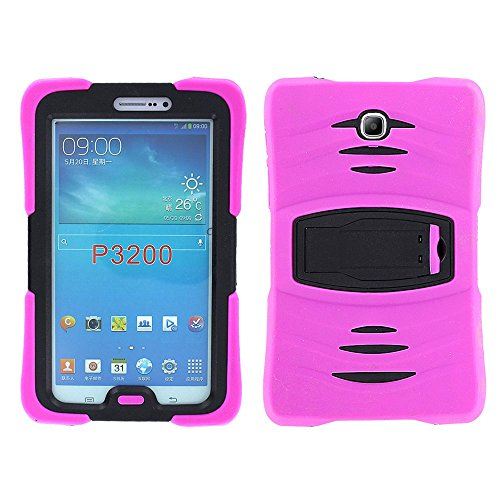 Samsung Galaxy Tab 3 7.0 Case by KIQ TM Full-body Shock Proof Hybrid Heavy Duty Armor Protective Case for Samsung Galaxy Tab 3 7.0 P3200 with Kickstand and Screen Protector (Armor Hot Pink)