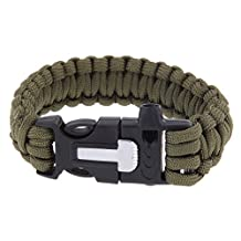 Survival Bracelets Flint Fire Starter Paracord Whistle Gear Buckle Camping Ignition Equipment Resure Rope Escape Bracelet Kit 4 in 1 Boolavard® TM