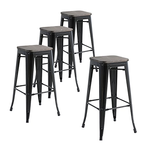 Buschman Set of Four Black Wooden Seat 30 Inches Counter Height Tolix-Style Metal Bar Stools, Indoor/Outdoor, Stackable (Wooden Furniture Bar Indoor)