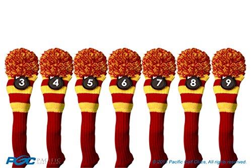 のスコアスロー散るMajek # 3、4、5、6、7、8、9ハイブリッドコンボパックRescueユーティリティレッド&イエローゴルフヘッドカバーニットポンポン付きレトロクラシックヴィンテージヘッドカバー