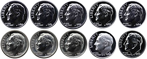 1964 Us Dime (1960-1969 S 90% Silver Roosevelt Dimes Gem Proof & SMS Run 10 Coins US Mint Decade Lot Complete 1960's Set)