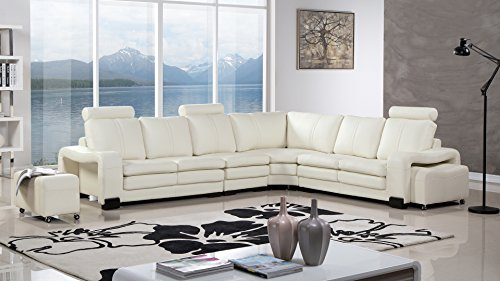 American Eagle Furniture AE-L213M-IV Haverhill Collection Faux Leather 6-Piece Sectional Sofa with Wheeled Ottoman, - American Sectional Leather