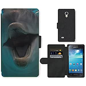 Hot Style Cell Phone Card Slot PU Leather Wallet Case // M99999106 Dolphin // Samsung Galaxy S4 Mini i9190