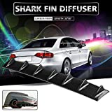 Ruien 33'' x6'' Universal Rear Bumper Lip Diffuser 7 Shark Fin Style Gloss Carbon ABS (Water Transfer Printing)