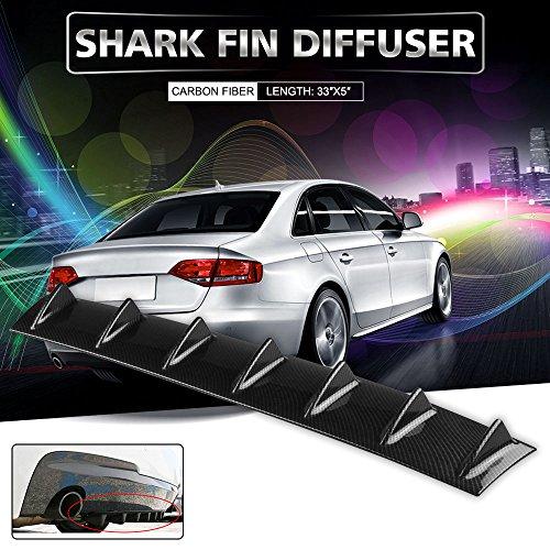Ruien 33″ x6″ Universal Rear Bumper Lip Diffuser 7 Shark Fin Style Gloss Carbon ABS (Water Transfer Printing)