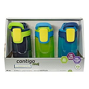Contigo Kids Autoseal Gizmo Water Bottles, 14oz (Nautical/School boy/ Granny Smith)