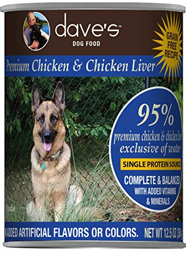 Dave's Pet Food Healthy & Grain Free Canned Dog Food for Weight Loss - 95% Chicken & Chicken Liver - 12Count of 13 oz Cans - Made in The USA