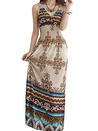 Rihe Women's Summer Multi-color Maxi Long Sleeveless Exotic Printed Dress