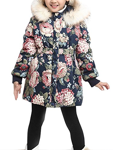 OCHENTA Girls' Floral Thick Quilted Padded Winter Coat with Faux Fur Trim Hood Navy Blue Tag 130-47''(6-7Y) by OCHENTA