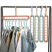 Party Zealot 10 Packs Space Saving Clothes Hangers Multi Port Hanger Organizer for Shirt Skirt Blouse, Random Colors
