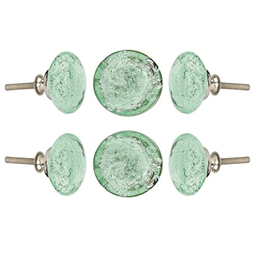 (Set of 6 Crystal Glass Knobs Kitchen Cabinet Cupboard Glass Door Knobs Dresser Wardrobe and Drawer Pull by Perilla Home(Light Green))