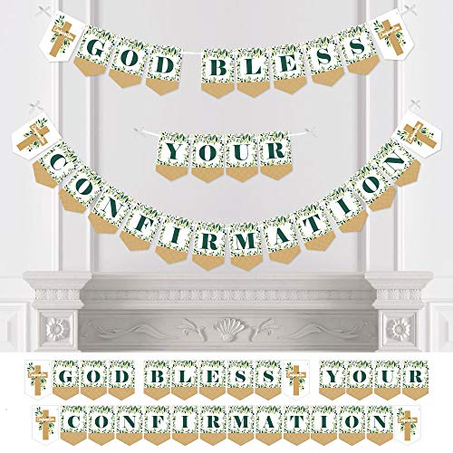 Big Dot of Happiness Confirmation Elegant Cross - Religious Party Bunting Banner - Party Decorations - God Bless Your Confirmation -