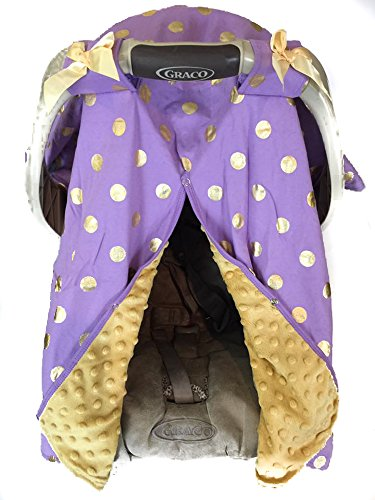 Infantile Shop Purple and Metallic Gold Dot Minky Carseat - Gold And Purple Shop