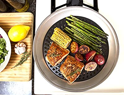 Kitchen + Home Stove Top Smokeless Grill Indoor BBQ, Stainless Steel with Double Coated Non Stick Surface from Kitchen + Home