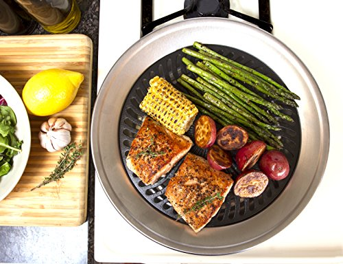 Kitchen + Home Stove Top Smokeless Grill Indoor BBQ - Stainless Steel with Double Coated NonStick Surface with Bonus Stove Top Gas Range Burner Liners