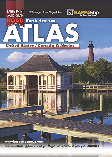2018 North America Mid-Size Large Print Road Atlas