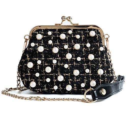 Small Crossbody Purse Houndstooth Tweed Kiss-lock Pearls Shoulder Bag with Chain Strap (Black)
