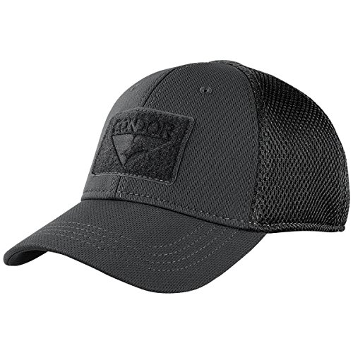 (Condor Flex Mesh Cap (BLACK), Breathable Fitted Tactical Operator Hat)