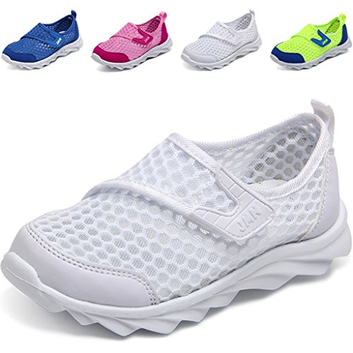 WALUCAN Boy and Girl's Breathable Mesh Running Shoes Outdoor Anti-Slip Sneakers (Little/ Big Kids) (Little Girl Walking)