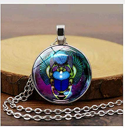 Egyptian Scarab Beetle with Round Glass Charms Pendants Necklaces, Antique Jewelry Gift - Rebirth - Glass Locket Antique