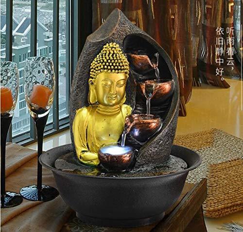 WYDZSM Desktop Fortunato Ornamenti Fontana dAcqua Soggiorno Umidificatore Sud-EST Asiatico Casa Decorazione Buddha Statua Acqua Decorazione Zen Cinese Cascata Interna