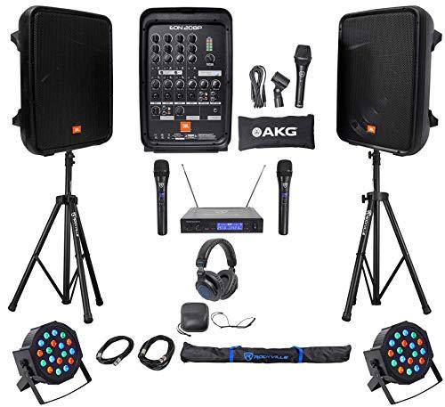 "JBL EON208P 8"" Bluetooth Speakes+Mixer+Stands+Wireless Mics+Headphones+Lights"