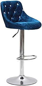 ZZFF Bar Stools Modern Swive Adjustable Barstools Velvet Padded Kitchen Counter Height Stool Armless High Back Metal Dining Chair Navy Height:60-80cm(24-31inch)