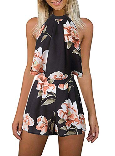 (Fadalo Women's Floral Printed Summer Dress Romper Jumpsuits Sleeveless Playsuit 2 Piece Outfits (X-Large, Black))