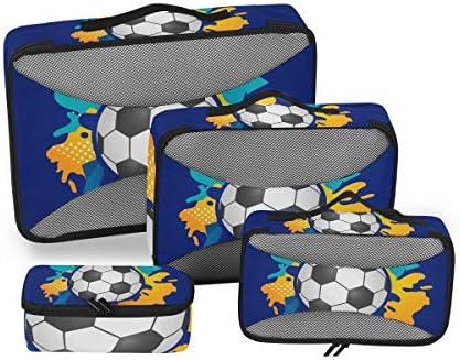 サッカーボールブルー水彩競技 荷物パッキングキューブオーガナイザートイレタリーランドリーストレージバッグポーチパックキューブ4さまざまなサイズセットトラベルキッズレディース