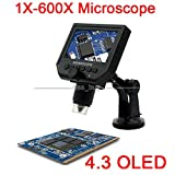 Jillier 1-600X HD OLED LCD Display USB Digital Microscope Endoscope Microscope Magnifying Glass Camera Zoom for Maintenance Detection
