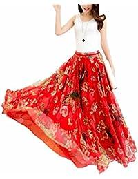 Womens Blending Chiffon Retro Long Maxi Skirt Vintage Dress