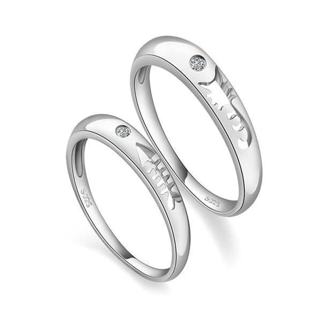 Daesar Silver Plated Wedding Bands Mens Womens Mens Fish Bone CZ Rings for Couples 3mm /& 3.5mm