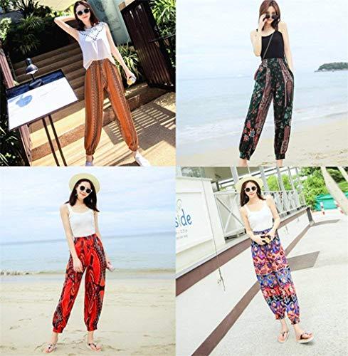 Imprimé Taille Mode Haute Pantalon D'impression Sarouel Confortable Jaune Stretch Occasionnel Élastique Femme Avec Pour qw0natgX
