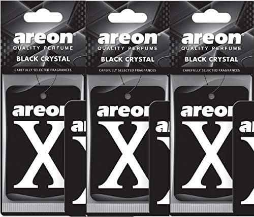 Areon X Autoduft Schwarz Kristall Auto Lufterfrischer Aufhänger Anhänger Spiegel Pappe 2d Set Pack X 3 Auto