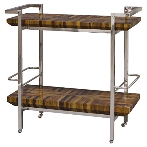 Kathy Kuo Home Teo Global Bazaar Inlaid Banana Bark Silver Bar Cart