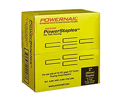 "Powernail 15.5ga. 2"" PowerStaples for Hardwood Flooring. Box of 5000 staples"